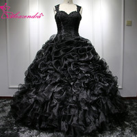 Alexzendra Applique Beads Black Ball Gown Quinceanera Dresses Sweetheart Spaghetti Straps Gorgeous Quinceanera Dresses 2017