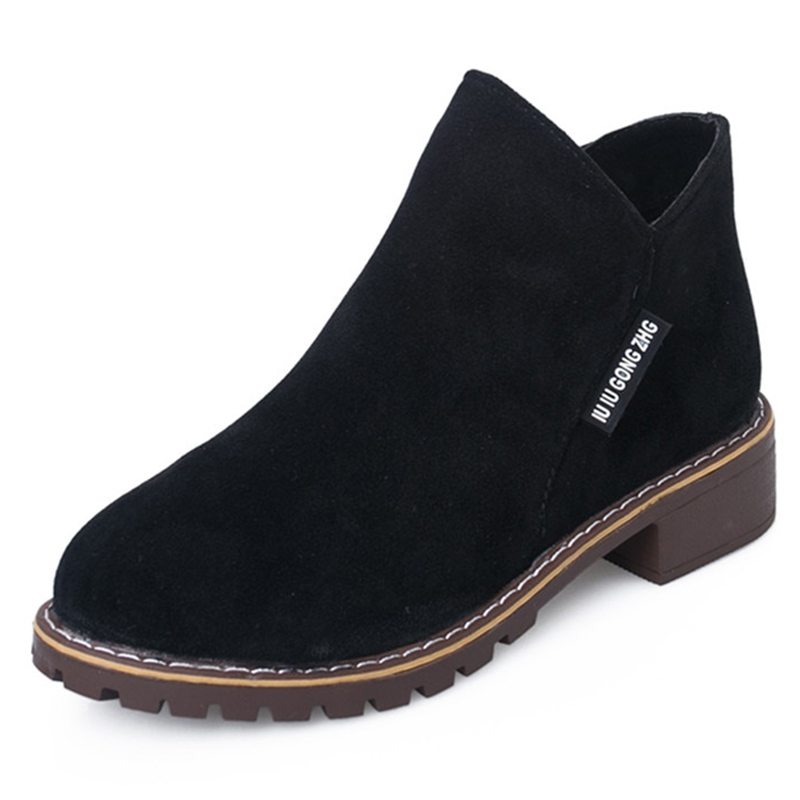 Short-Boots Shoes Heel Female-Block England Vintage Winter New-Style Scrub Side-Zip