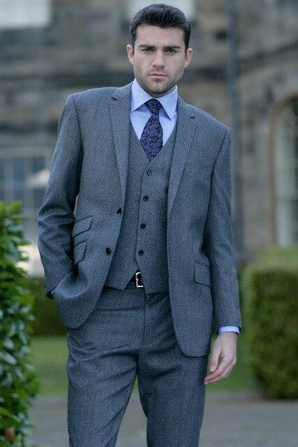 Latest Coat Pant Designs Grey Tweed Men Suit Slim Fit Skinny 3 Piece ...