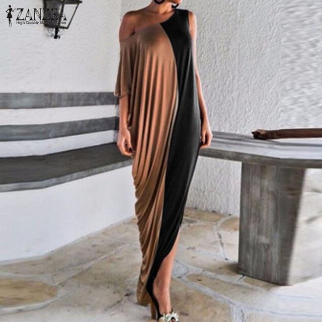 Fashion Vestidos 2017 Summer Women Short Batwing Single Shoulder Sexy Floor Length Party Dresses Long Maxi Dress Plus Size