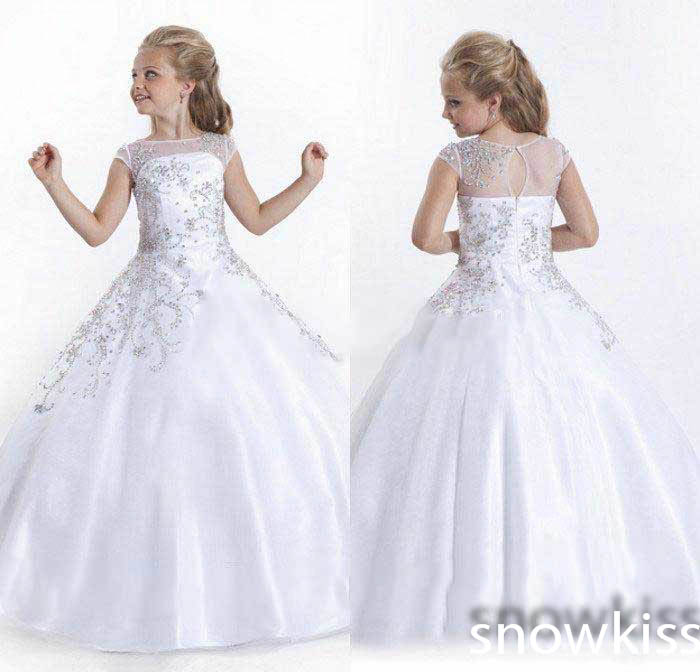 Luxury beading crystals juniors party frocks kids beauty pageant dresses beautiful white/ivory long sheer neck tulle ball gowns