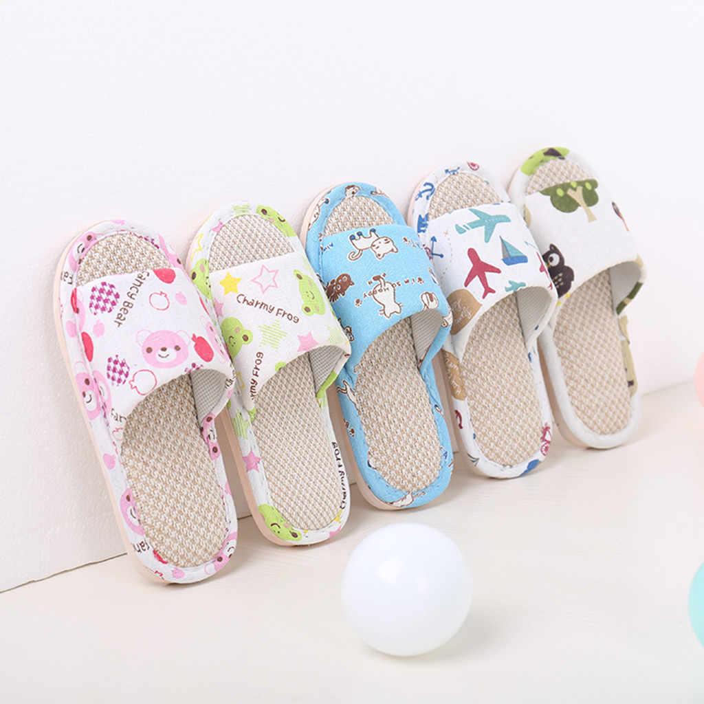 """בני בנות כפכפים קיץ Flip Flop סנדלי ילדים Cartoon מטוסים בית נעלי ילדים לנשימה פשתן נעלי בית (ארה""""ב גודל)"""