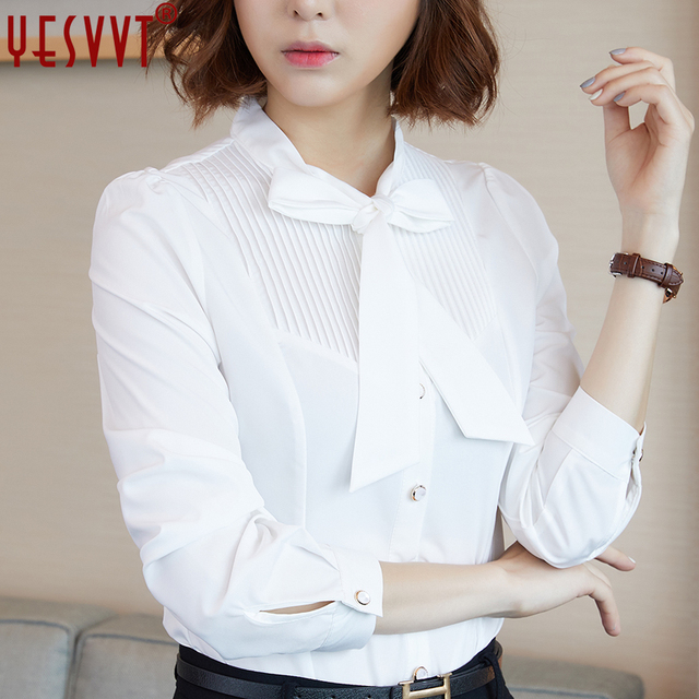 169852cabdce8 2017 autumn bow long sleeve blouse women OL temperament office ladies  chiffon shirt plus size xxl 3xl work wear tops white blue -in Blouses &  Shirts ...