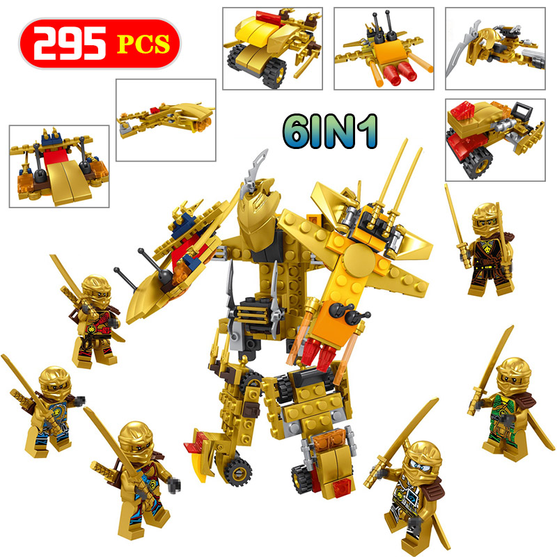 Building Blocks Gold Edition Ninjago Figures  Lot Kai Boy Toys Jay Cole Zane Lloyd Compatible LegoINGlys Golden Ninjago 6 in 1 [yamala] 15pcs lot compatible legoinglys ninjagoingly cole kai jay lloyd nya skylor zane pythor chen building blocks ninja toys