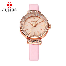 New Julius Lady Woman Wrist Watch Quartz Hours Best Fashion Rhinestone Dress Multicolor Bracelet Leather Girl