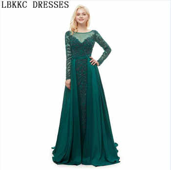 Abiye Gece Elbisesi Green Long Sleeve Evening Dresses A Line Handly Sew Beads Robe De Soiree Formal Dress Women Elegant - DISCOUNT ITEM  23% OFF Weddings & Events