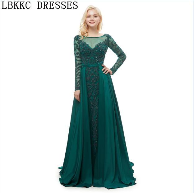 Abiye Gece Elbisesi Green Long Sleeve   Evening     Dresses   A Line Handly Sew Beads Robe De Soiree Formal   Dress   Women Elegant