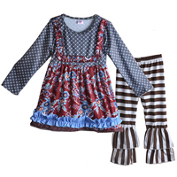 CONICE NINI New Arrival Fall Toddler Girls Cotton Outfits Print Dress Brown Stripes Ruffle Pants Children Clothing Sets F147