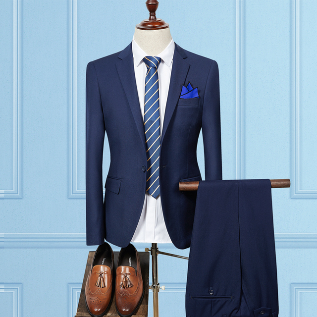2018 nuevo llegado (chaqueta + Pant) azul marino para Hombre Trajes con  pantalones juegos 89ca674bb7b