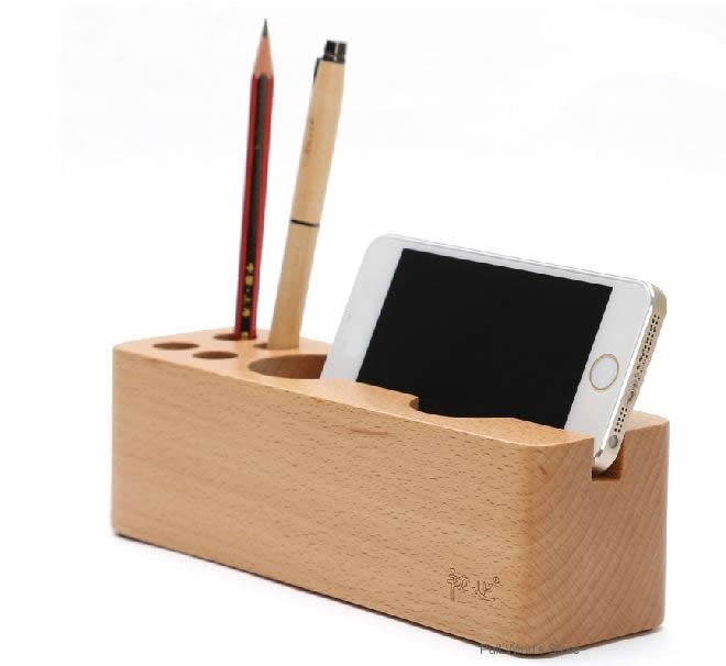 Creative Wood Office Desktop Storage Box Personalized Porous Pen Stand Phone Holder Fashion Multifunctional Good In Boxes Bins From