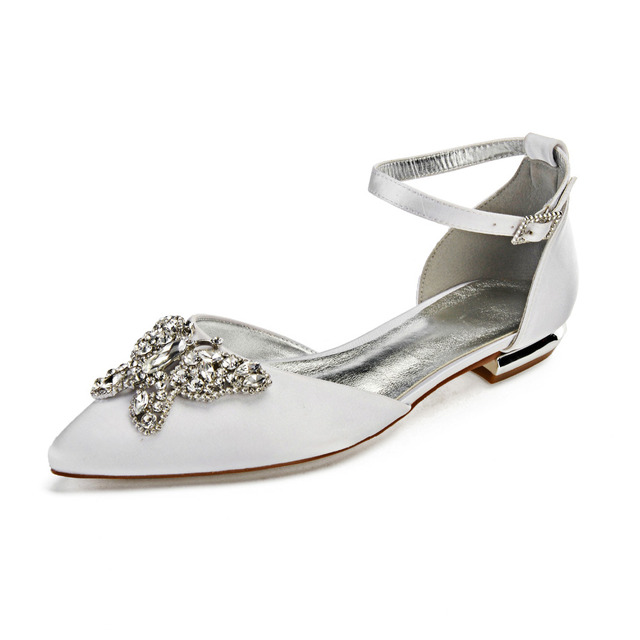 Pointed toe lady satin evening dress flat shoes wedding flats with 3D  Crystal butterfly bridal bridesmaid girl s brithday party a52aea4ec027