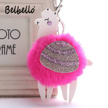 Belbello 2019 New Style Fashion Lovely Hair Ball Keyboard Alpaca PU Pendant Bag car Fur Hangers Holiday gift Toy Plush Pendant(China)
