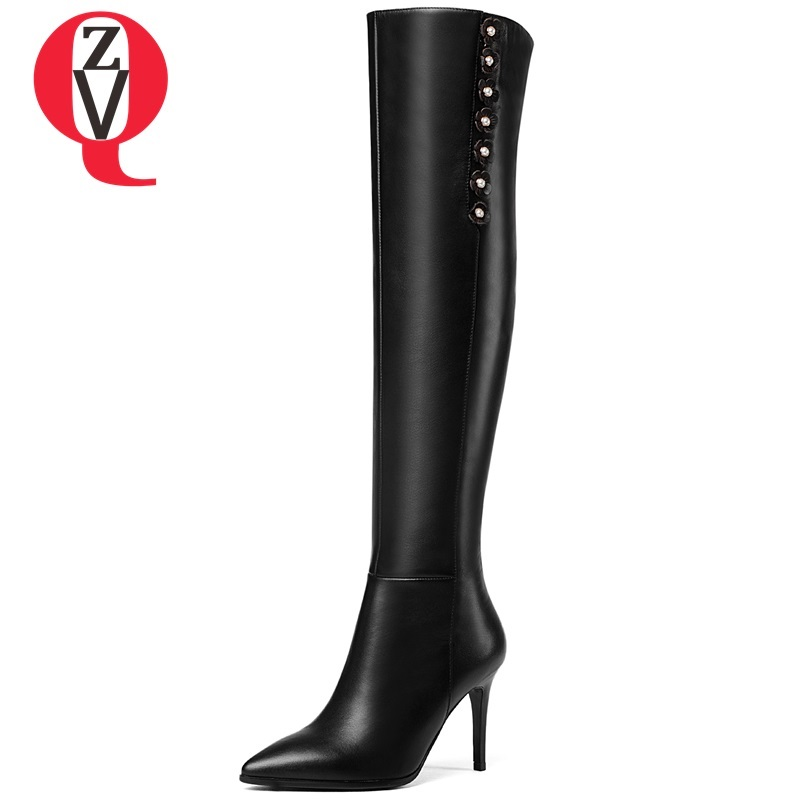 ZVQ women shoes 2018 new fashion high genuine leather super high thin heel pointed toe zip flower winter party over knee boots zvq 2018 new popular kid suede embroider women shoes super high square heel pointed toe zip black winter warm over knee boots