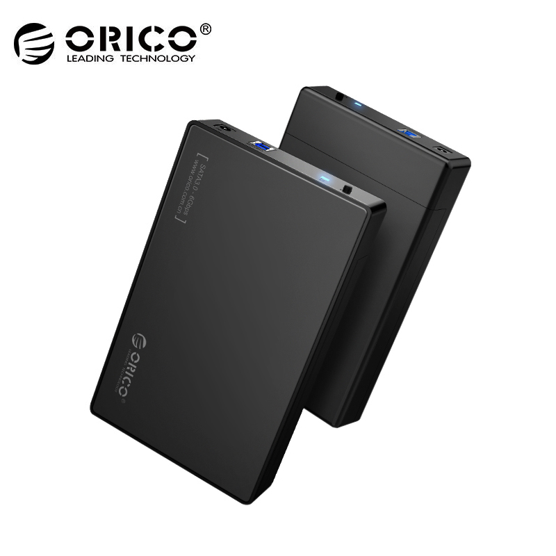 ORICO 3588US3-BK 3.5 Inch HDD Enclosure Case USB 3.0 5Gbps to SATA Support UASP and 8TB Drives Designed for Notobook Desktop PC sata usb 3 0 blue orange hdd case with 250g hard disk heating release rubber case 2 5 fast reading speed case