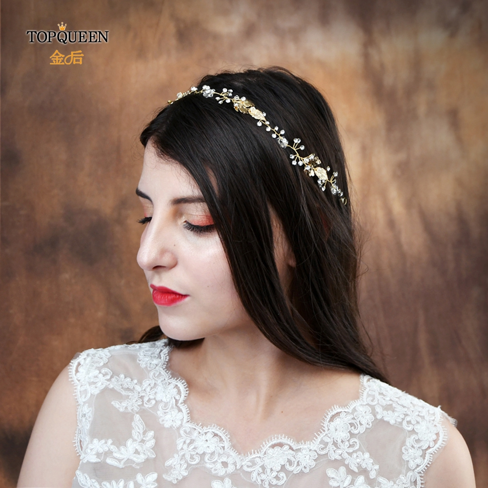 TOPQUEEN HP122 Wedding Headband Rhinestones Bead Bridal Decoration For The Hair Accessories Bohemia Style Gold Leaf  Hair Crown