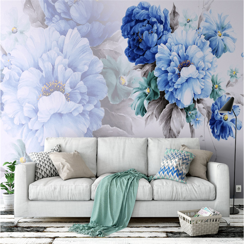 custom modern 3d photo non-woven mural wallpaper watercolor hand-painted flowers Nordic style living room sofa background wall custom photo wallpaper nordic style mural wallpaper bedroom sofa tv background wall decorations living room modern 3d wallpaper