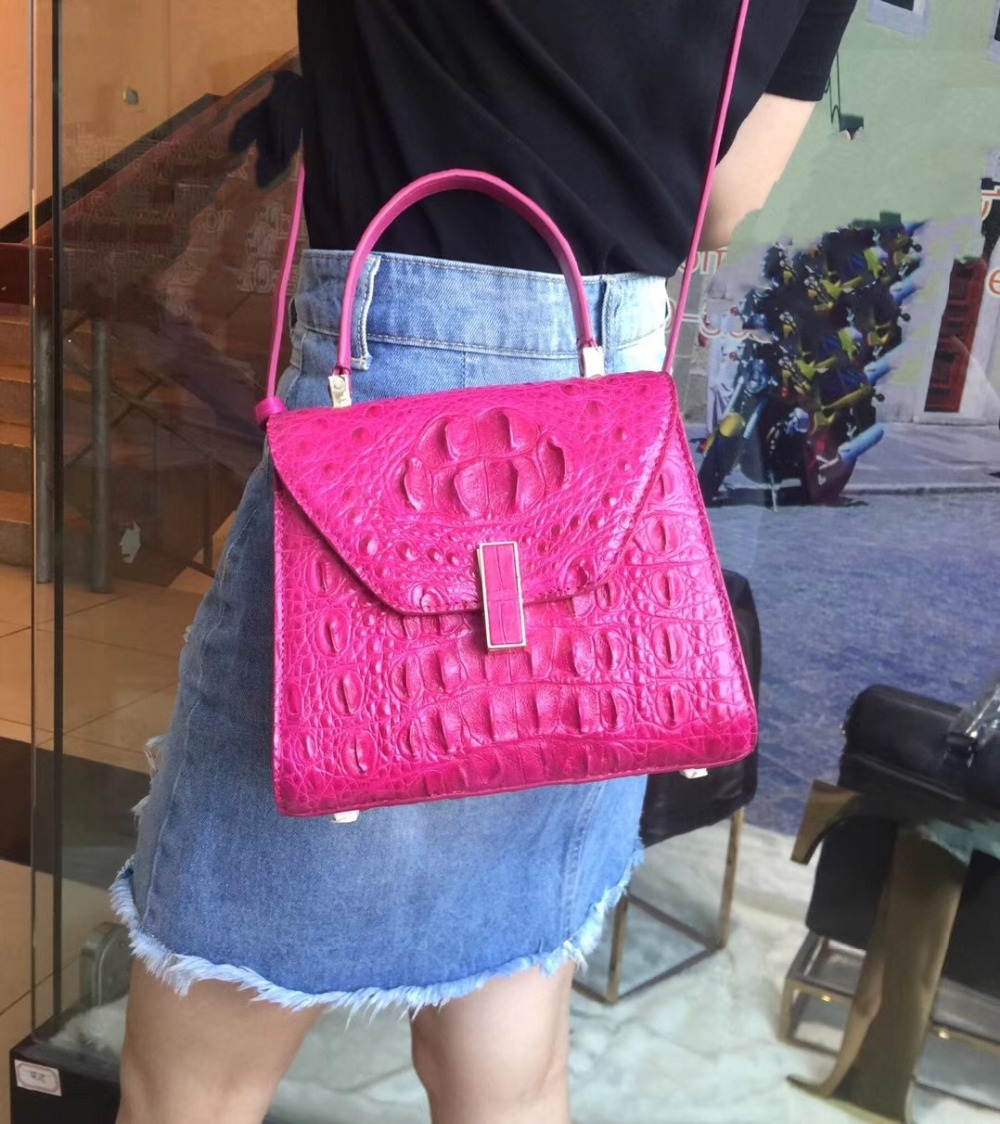 купить Luxury Designer Genuine Alligator Skin Women Solid Purse Exotic Crocodile Leather Lady Single Shoulder Bag Female Small Handbag по цене 21745.83 рублей