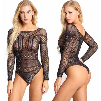 Sexy Women Exotic Hot Teddies Bodysuits Long Sleeve Mini Lingerie Women Nightwear Sleepwear Hollow Out Female Sequin Jumpsuits Teddies