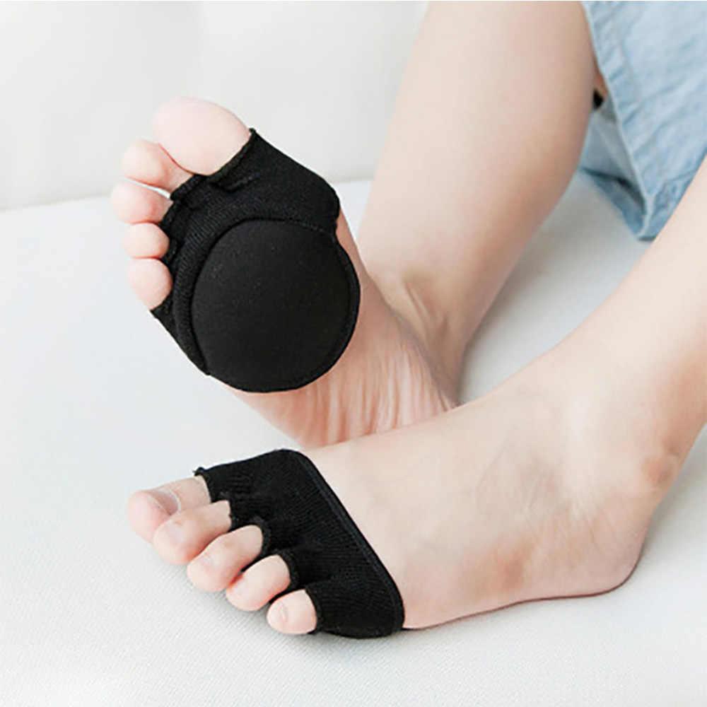 Vrouwen Sokken Spons Siliconen Anti-Slip Hoge Hak Sokken Open Teen Heelless Liner Sok Onzichtbare Voorvoet Kussen Voet Pad katoen