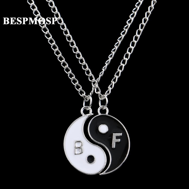 Bespmosp 24PCS/Lot Wholesale Eight Diagrams Yin Yang Black White 2PC Chain Pendant Necklace Best Friends Friendship <font><b>BFF</b></font> Jewelry image