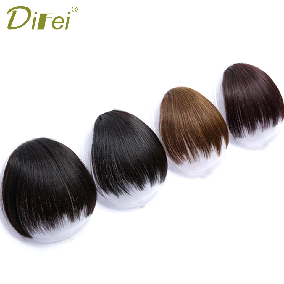 DIFEI Fake Long Blunt Bangs Hair Extension Synthetic False Hair piece Natural Fake Hair Bangs for Women High Temperature Fiber