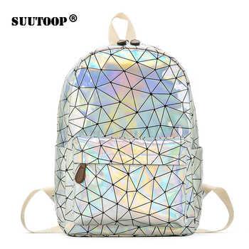 Holographic Women's bag Hologram Leather Female Fashion travel Backpack Laser For Girl School Casucal bag Pack Mochila feminina - DISCOUNT ITEM  44% OFF All Category