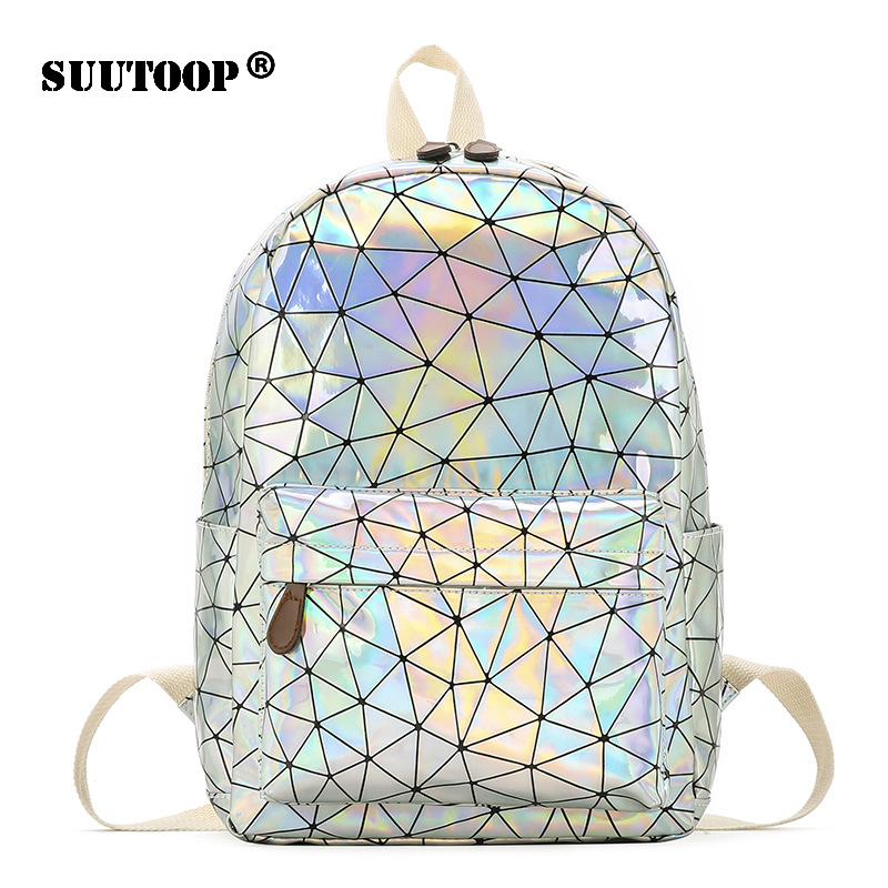 Holographic Women's bag Hologram <font><b>Leather</b></font> Female Fashion travel <font><b>Backpack</b></font> Laser For Girl School Casucal bag Pack Mochila feminina image