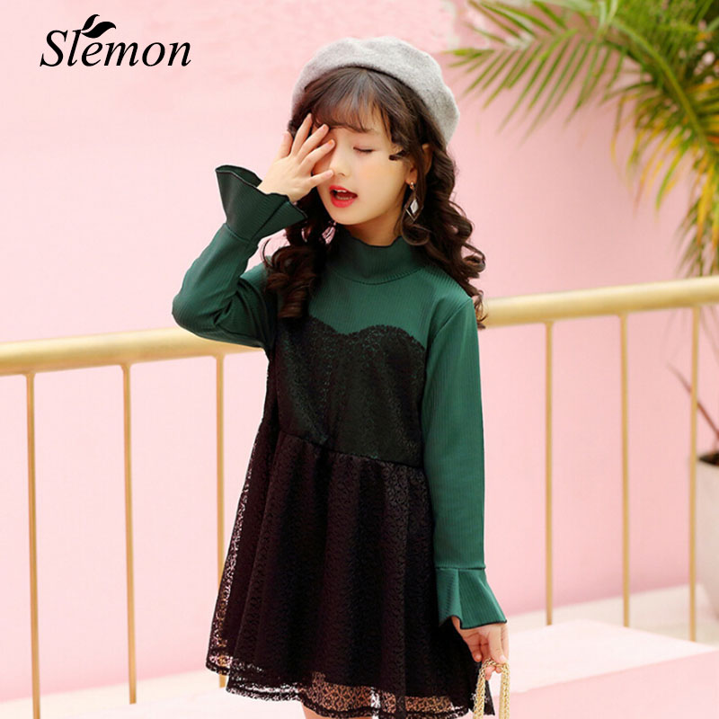 2017 Autumn New Style Children Girl Lace Dress Fashion Personality Long Sleeve Ball Gown Black Red Teenager Little Girl Clothes