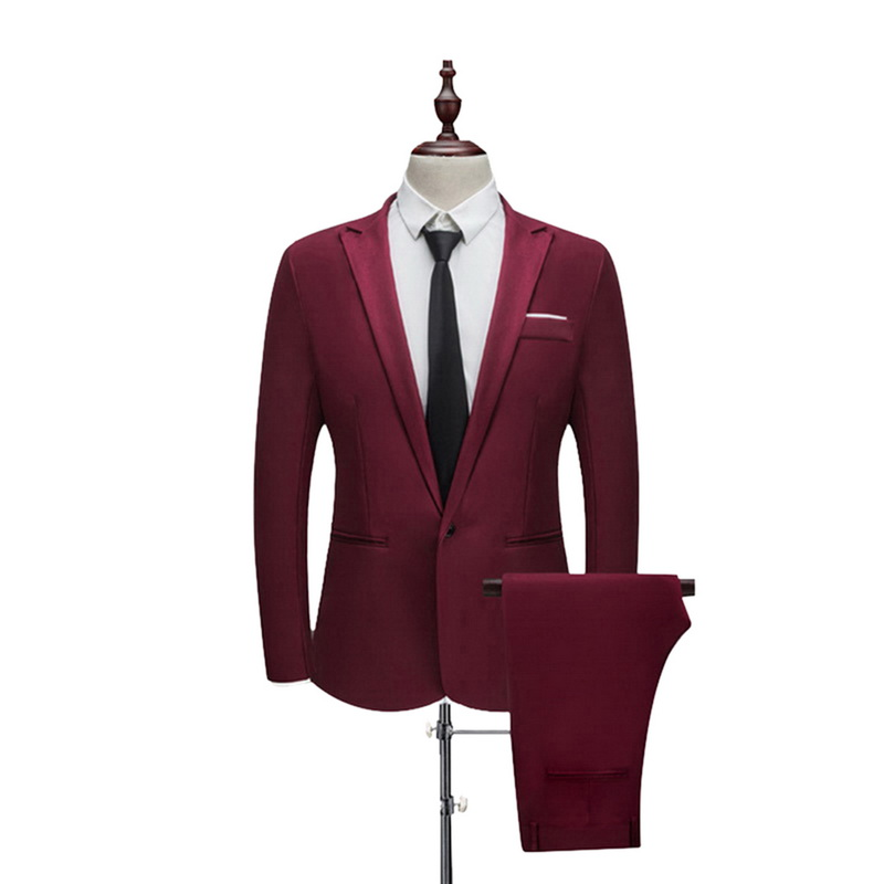 ADISPUTENT Tuxedos Jacket Wedding-Suits Groom Slim-Fit Autumn Male 2-Piece Casual Pure-Color