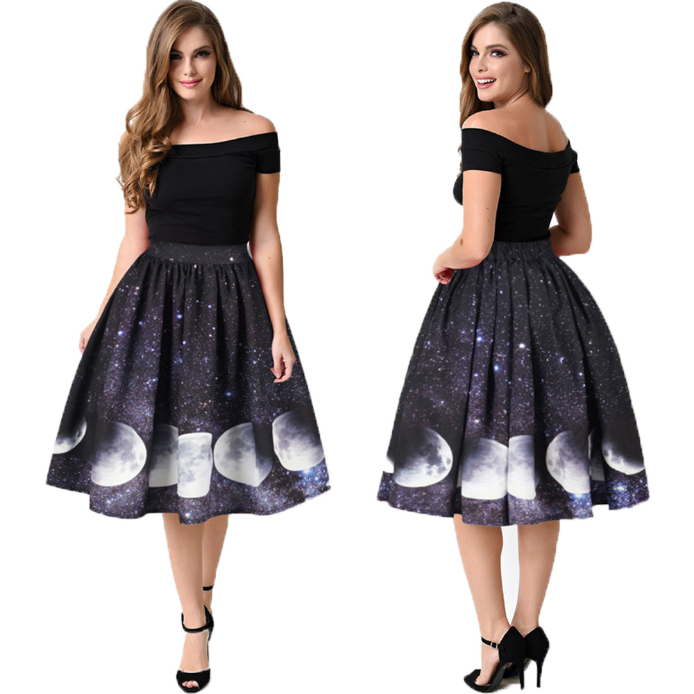Starry Sky Moon Phase 3d Print Women Pleated Tennis Skirts