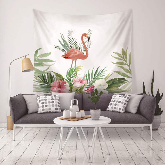 Pink Flamingo Tapestry Tropical Leaves Wall Hanging Cloth Decor Modern Dorm  Room Tenture Mural Show Piece