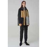 Новое поступление 2018 черный, серебристый цвет лоскутное Oversize Safari стильная куртка Для женщин