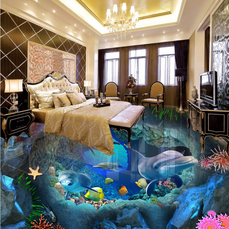 Free shipping Sea World 3D Floor self-adhesive home decoration photo custom office bedroom wallpaper living room mural