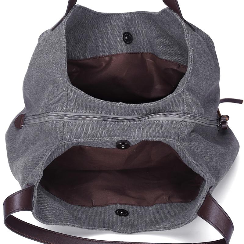 Womens Canvas Handbags Female Hobos Single ShouldBags Vintage Solid Multi-pocket Ladies Totes,Coffee