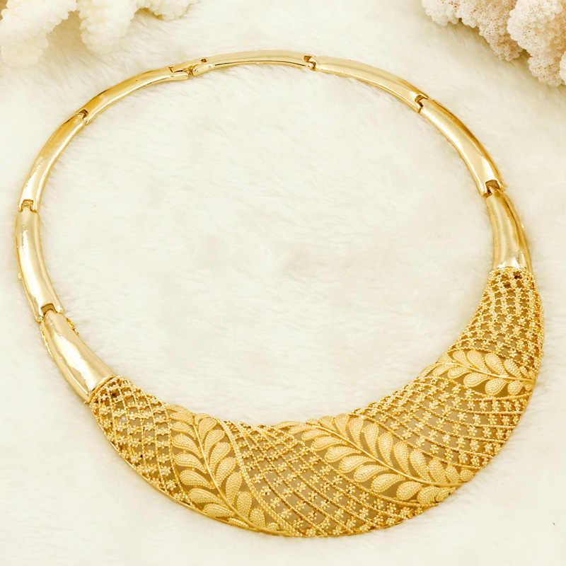 Charme Afrikanische Frauen Partei Schmuck Sets Leben Baum Blatt Halskette Ohrringe Ring Mode Braut Hochzeit Gold-farbe Zubehör