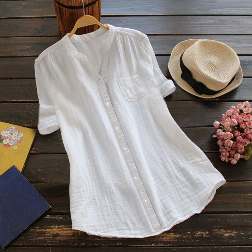 Women Stand Collar Short Sleeve Casual Loose Tunic Top T Shirt rustic style simple White T-shirt feitong womens t shirt tops 5XL