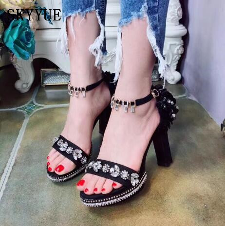 New Black Suede Genuine Leather Bling Bling Crystal Beading Women HIgh Heel Sandals Summer Open Toe Women Dress Office Shoes genuine leather women sandals rural sweet style women shoes butterfly beading crystal wedges shoes high heel sandals dress shoes