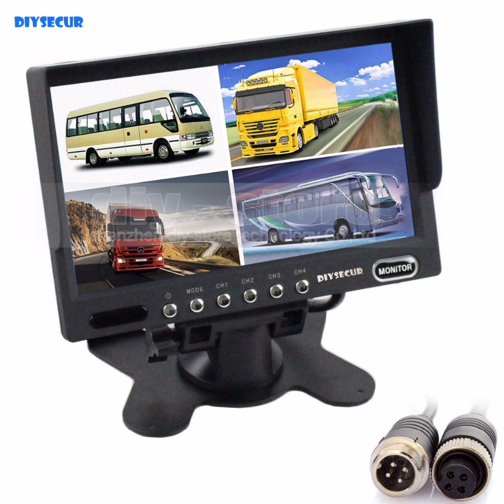 DIYSECUR 4PIN DC12V-24V 7 Inch 4 Split Quad LCD Screen Display Rear View Video Security Monitor for Car Truck Bus CCTV Camera bus zadar split