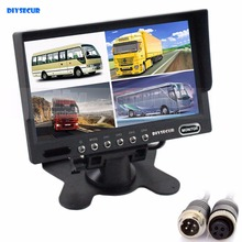 DIYSECUR 4PIN DC12V-24V 7 Inch 4 Split Quad LCD Screen Display Rear View Video Security Monitor for Car Truck Bus CCTV Camera