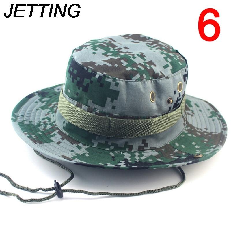 Detalle Comentarios Preguntas sobre Jetting verano hombres mujeres camuflaje  cubo sombrero con cadena pescador Militar Panama Safari boonie Sombreros  cap en ... 92bd23c7d63