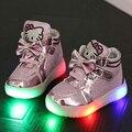Malha respirável sapato levou crianças shoes com luz lumineuse chaussure enfant crianças led bambas cesta garoto levou enfant