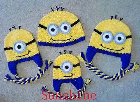 Despicable Me Minion Hat Crochet Cartoon Character Cap Newborn Infant  Toddler Baby Boy Girl Headwear Children Beanie Cotton Yarn 0980e89aa7a