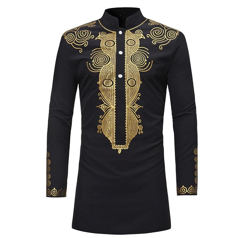 Mens African Dashiki Print Shirt Long Sleeve Tribal Top Shirt