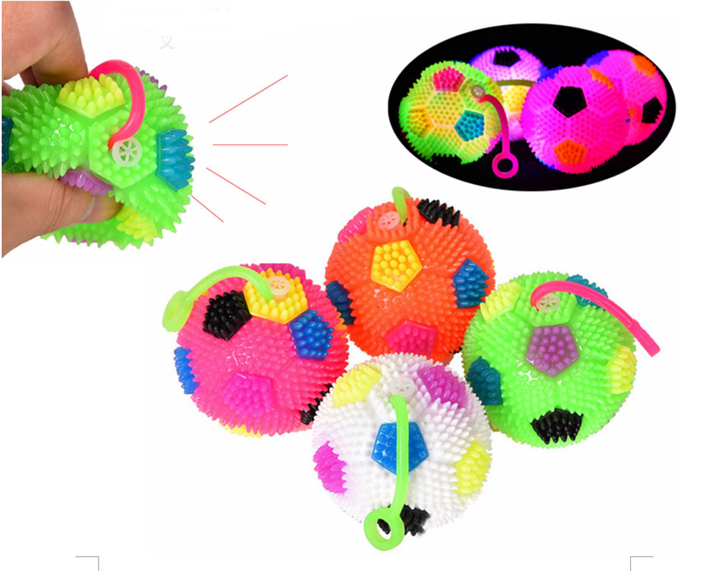 Baby Kids Light Up Anti-stress Toys Flashing Spikly Ball Bouncy Ball Squeeze Massage Ball Toys With Screams for Children