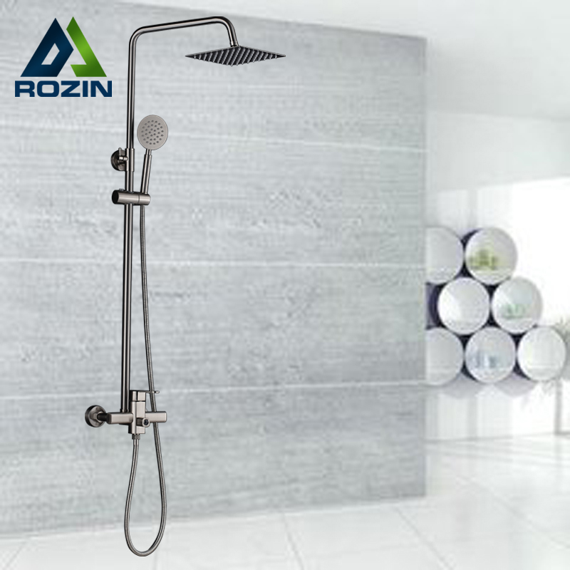 Fashion Brushed Nickel Shower Faucet Cold And Hot Water Mixer Adjustable Shower Bar With Handheld Showerhead