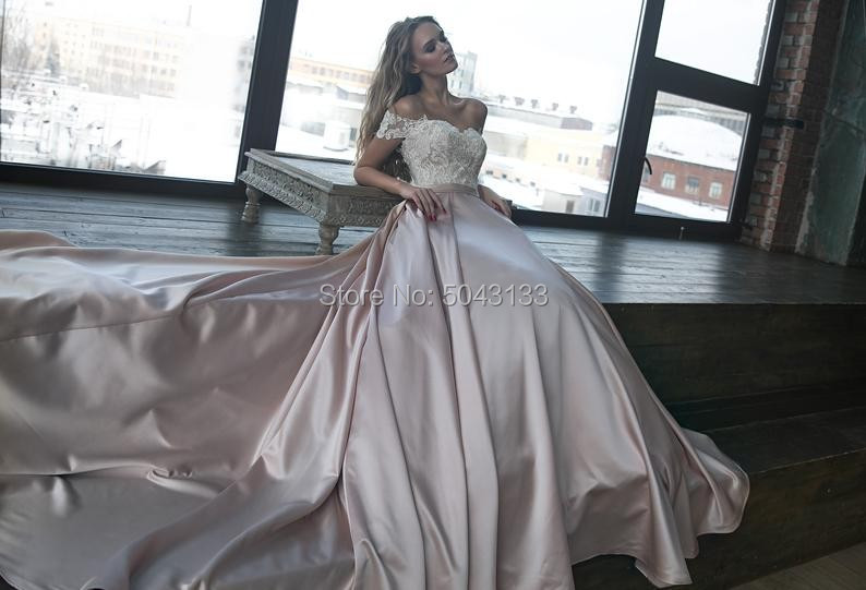 Image 3 - Sexy Off The Shoulder Satin Wedding Dresses Romantic Lace Applique Bridal Gowns with Sleeves Chapel Train Bride Dress 2019-in Wedding Dresses from Weddings & Events