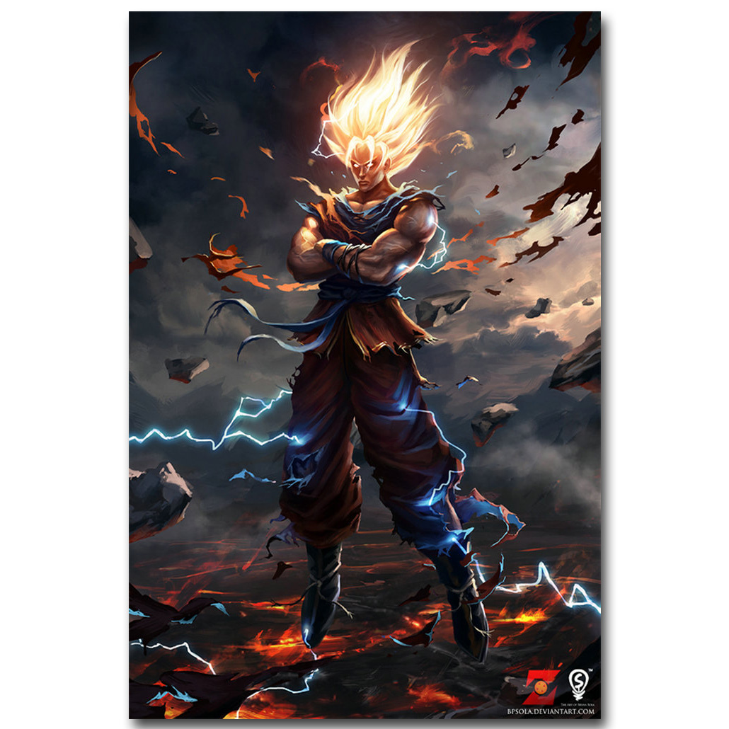 Dragon Ball Z Art Silk Fabric Poster Print 13×20 24x36inch Japanese Anime Goku Picture for Living Room Wall Decor Gift 015
