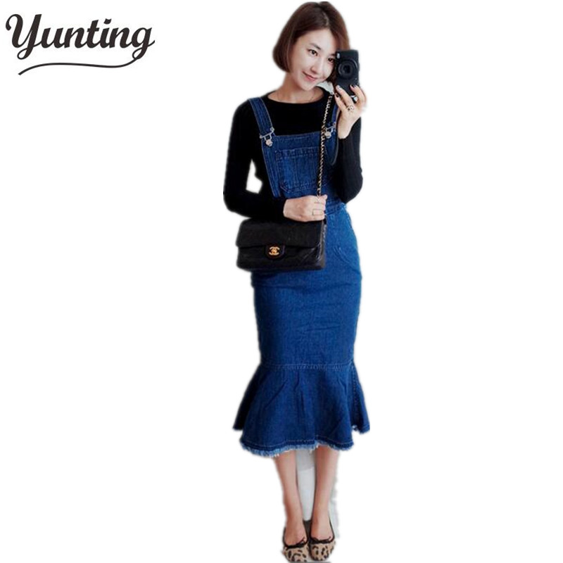 Women sexy  Adjustable Shoulder Straps Denim Overall Slim Fit Dress Blue denim overall dress Discount