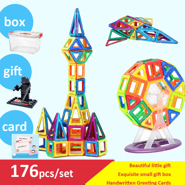 176pcs/lot Magnetic Models Building Blocks Toys DIY 3D Magnetic Designer Learning Educational Bricks Kids Toys With Box and Gift