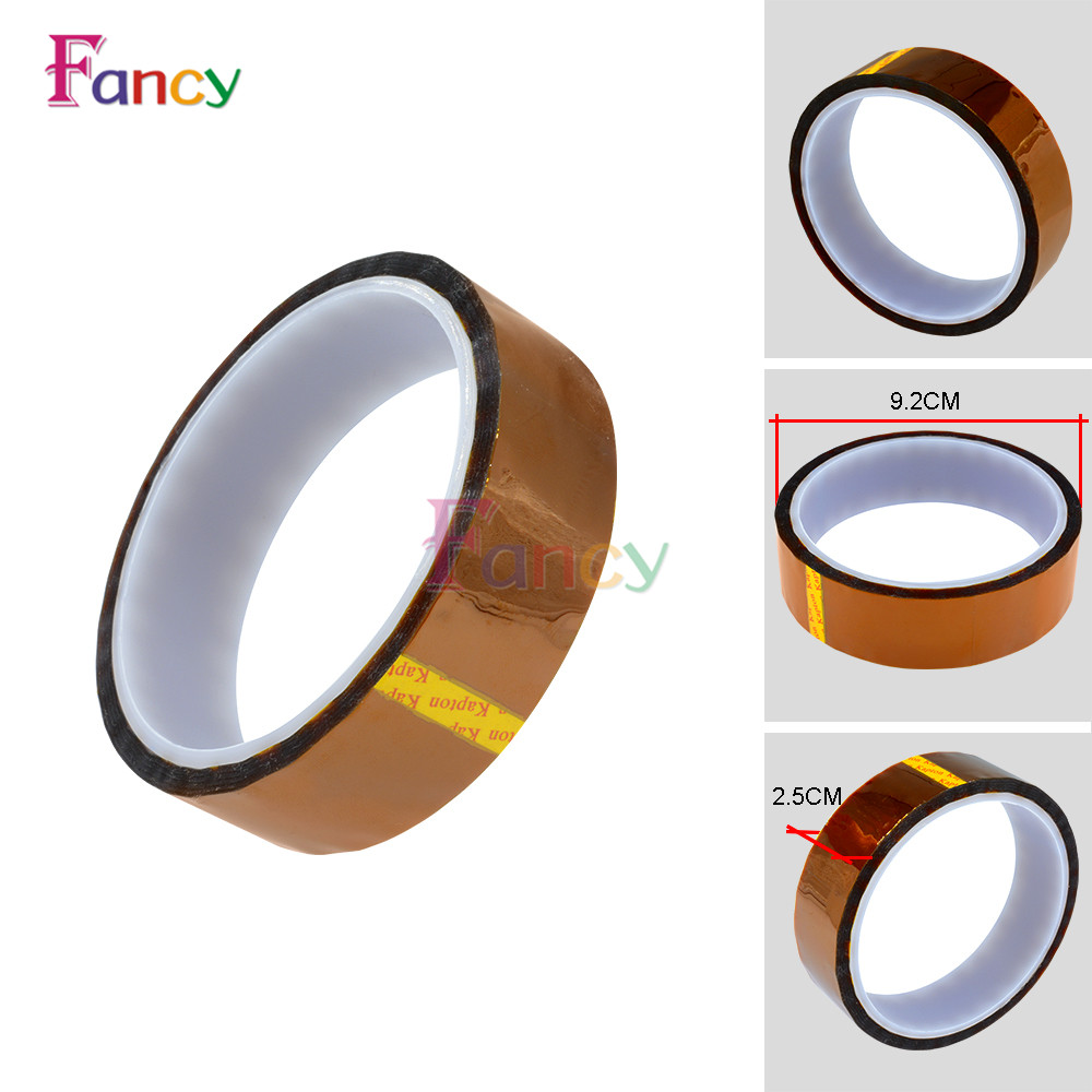 25mm x 30M Kapton Tape Sticky High Temperature Heat Resistant Polyimide high temperature heat resistant polyimide adhesive tape 65mm x 30m 260 300 degree new for electronics industry